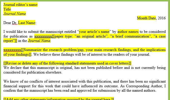 Writing Effective Cover Letters For Journal Submissions Tips And A Word Template